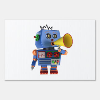 Blue toy robot with bullhorn sign