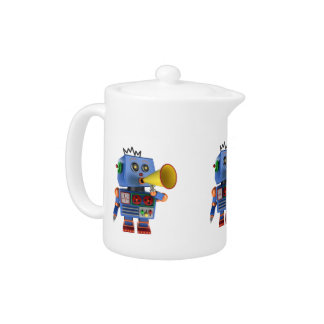 Blue toy robot with bullhorn teapot