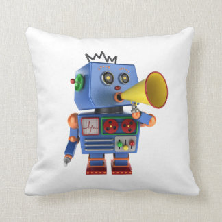 Blue toy robot with bullhorn throw pillow
