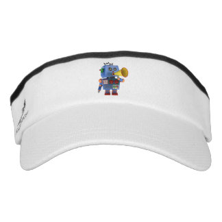 Blue toy robot with bullhorn visor