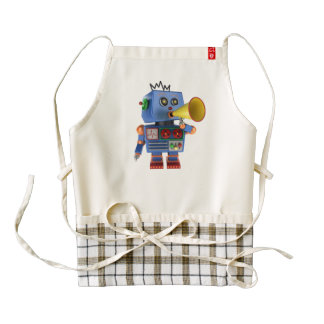 Blue toy robot with bullhorn zazzle HEART apron