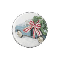 Blue Toy Truck Carrying A Christmas Tree Candy Tin