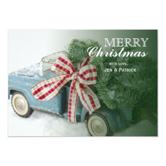 Blue Toy Truck Carrying A Christmas Tree Card