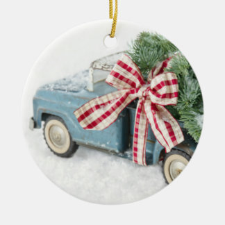 Blue Toy Truck Carrying A Christmas Tree Double-Sided Ceramic Round Christmas Ornament