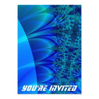 Blue Trace Fractal 5x7 Paper Invitation Card