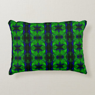 Blue traces and forms and green, almost striped accent pillow