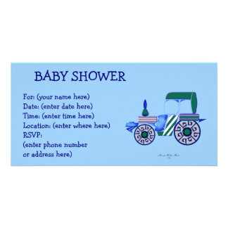 Blue Tractor Baby Shower Card