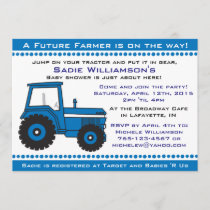 Blue Tractor Baby Shower Invitation