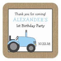 Blue tractor birthday party favor sticker