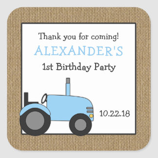 Blue tractor birthday party favor sticker