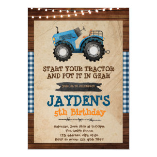 Blue tractor birthday party invitation