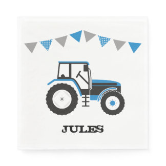 Blue Tractor Birthday Party Paper Napkins