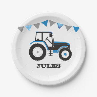 Blue Tractor Birthday Party Paper Plate