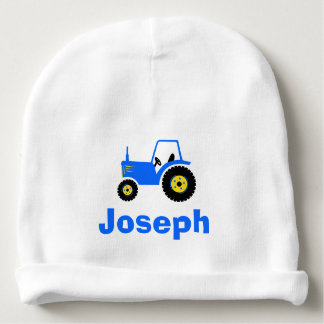 Blue tractor boys personalized name baby beanie