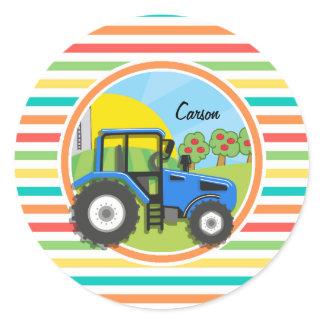 Blue Tractor; Bright Rainbow Stripes Classic Round Sticker