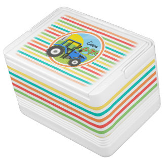 Blue Tractor; Bright Rainbow Stripes Cooler