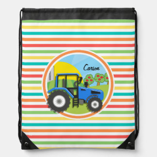 Blue Tractor; Bright Rainbow Stripes Drawstring Bag
