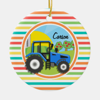 Blue Tractor; Bright Rainbow Stripes Double-Sided Ceramic Round Christmas Ornament