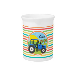 Blue Tractor; Bright Rainbow Stripes Drink Pitchers