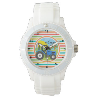 Blue Tractor; Bright Rainbow Stripes Watch