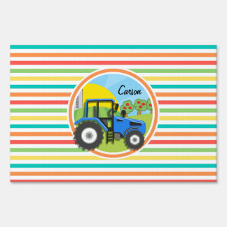 Blue Tractor; Bright Rainbow Stripes Yard Sign