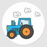 Blue Tractor Classic Round Sticker