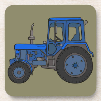 Blue tractor drink coaster