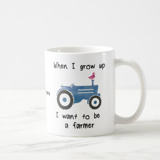 Blue Tractor & Duck-I want to be a farmer. Coffee Mug