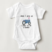 Blue tractor & duck. I want to be a farmer design Baby Bodysuit