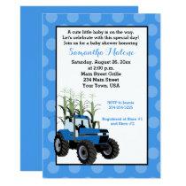 Blue Tractor Farming Baby Shower Invitation