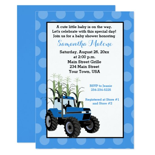Blue Tractor Farming Baby Shower Invitation