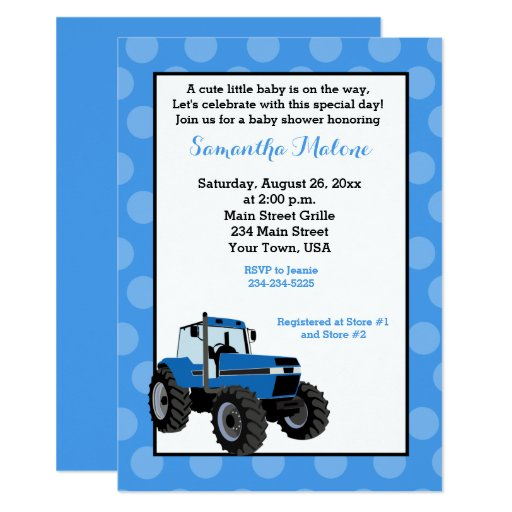 Blue Tractor Farming Baby Shower Invitation #2