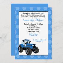 Blue Tractor Farming Baby Shower Invitation #2