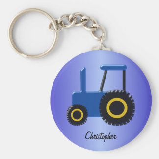Blue Tractor Just Add Name Key Chains