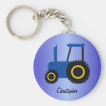Blue Tractor Just Add Name Basic Round Button Keychain