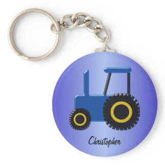 Blue Tractor Just Add Name Keychain