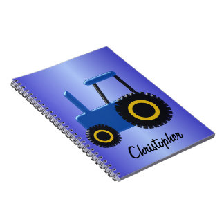 Blue Tractor Just Add Name Note Books