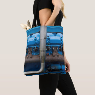 Blue Tractor Motor Tote Bag