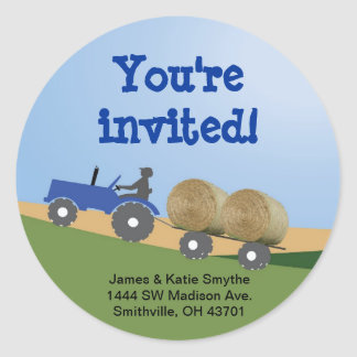 Blue Tractor Party Envelope Seal Sticker