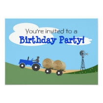 Blue Tractor Party Invitation