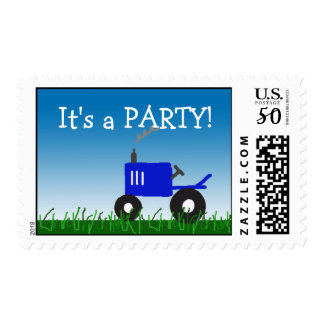 Blue Tractor Party Postage Stamp