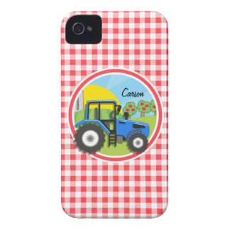 Blue Tractor; Red and White Gingham iPhone 4 Case