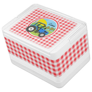 Blue Tractor; Red and White Gingham Drink Cooler