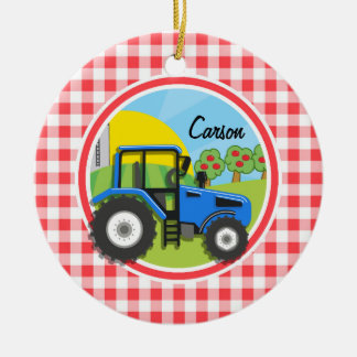 Blue Tractor; Red and White Gingham Double-Sided Ceramic Round Christmas Ornament