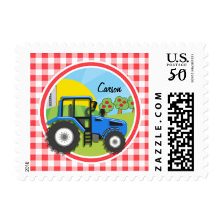 Blue Tractor; Red and White Gingham Postage