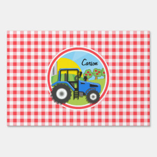 Blue Tractor; Red and White Gingham Sign