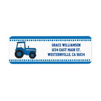 Blue Tractor Return Address Labels