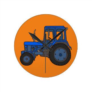 Blue tractor round clock
