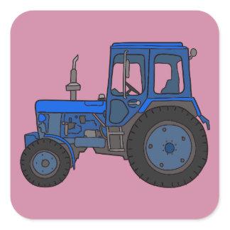 Blue tractor square sticker
