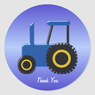 Blue Tractor Thank You Classic Round Sticker